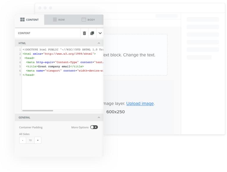 Flexible email creation with HTML edition
